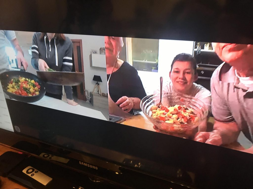 Private virtual cooking class on screen